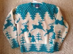 Eddie Bauer Nordic Fair Isle Crewneck Wool Sweater Women's Size XL Armpit To Armpit Measures 22 Inches Top Of Shoulder To Bottom Measures 26 Inches Pre-Owned Great Condition Fast Shipping Christmas Tree Sweater, Reindeer Sweater, Men Sweater, Blue And White, Wool, Clothes For Women, Crochet, Ski, Women's Clothing
