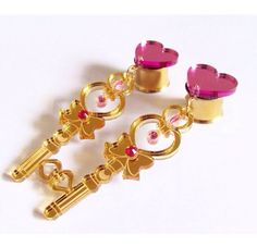 "Image of MADE TO ORDER 10mm (00g) - 50mm (2"") Sailor Moon heart and key charm plugs"