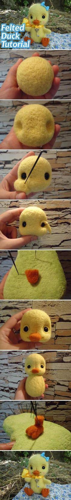 """Hračka """"Duck Sue"""" v technice suché plstění / plstěné Duck Tutorial #diy #howto #tutorial #felting #toy # # plstění hračka Stacy"""