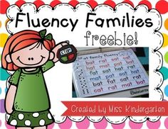 """One of the most important skills for beginning readers to attain is fluency in reading. Fluency means the ability to read text quickly and accurately. When students gain an understanding of word families, and start to see """"chunks"""" in words, they become better readers."""