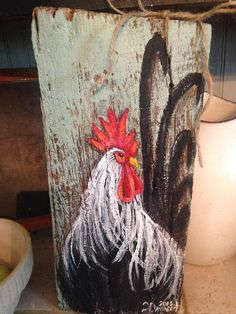 Rustic rooster painting rooster wall decor by CottageDesignStudioRustic rooster painting on Barn Ideas The Reasons Why We Should Put Rooster Decor In The Kitchen, Based on the breed, either the whole period of the crowing or the times the roo Rooster Painting, Rooster Art, Rooster Decor, Tole Painting, Chicken Painting, Chicken Art, Chicken Signs, Roast Chicken, Pallet Painting
