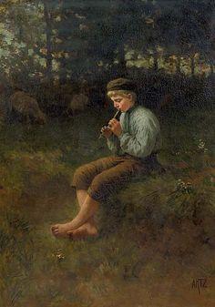 David Adolf Constant Artz (Dutch, 1837-1890)  Idylle: a happy tune  signed 'Artz.' (lower right)  oil on canvas  111 x 81 cm.