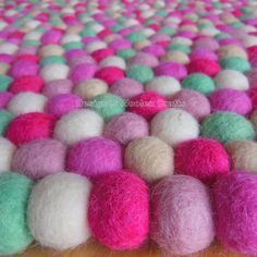 Felt Ball Rug - Handmade Wool Six Colour Felt Ball Rug Nursery Rug Home and Kids Room Home Deco Carpet Mat, Rugs On Carpet, Baby Nursery Rugs, Woolen Craft, Felt Ball Rug, Tea Coaster, Rooms Home Decor, Sheep Wool, Handmade Rugs