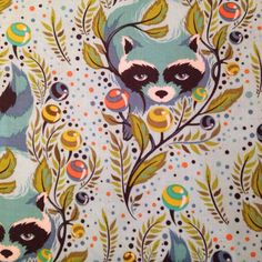 Tula Pink Raccoon in Sky - Fridays Off Fabric Shop - Online fabric store Canada, selling cotton designer fabric Tula Pink Fabric, Buy Fabric, Fabric Shop, Retro Fabric, Japanese Fabric, Modern Prints, Fabric Patterns, Fabric Design, Whimsical