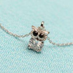 Rhinestone Owl Rhinestone Pendant Necklace
