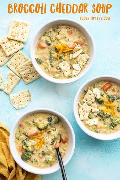 This super easy Broccoli Cheddar Soup is chock full of colorful, chunky vegetables in a rich and cheesy broth for a totally meal-worthy soup. Budgetbytes.com New Recipes, Soup Recipes, Cooking Recipes, Healthy Recipes, Recipies, Healthy Soups, Cooking Ideas, Fall Recipes, Chicken Recipes