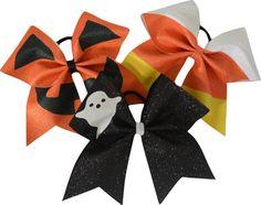 Halloween Trio Pumpkin, Ghost, Candy Corn Glitter Large Cheerleading Hair Bows-