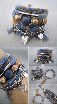 Blue and Brown Bohemian Bracelet Gypsy Bracelet Heart Charm