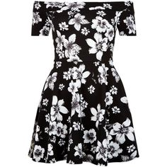 New Look Teens Black Floral Print Bardot Neck Skater Dress ($21) ❤ liked on Polyvore featuring dresses, black pattern, floral cocktail dresses, short sleeve fit and flare dress, cocktail dresses, evening dresses and fit and flare dress