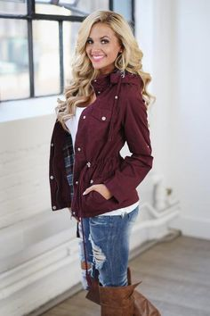 Blown Away Hooded Jacket - Wine