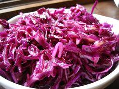 This Israeli Cabbage Salad recipe is as beautiful as it is tasty. http://www.rewards4mom.com/sample-hanukkah-menu/
