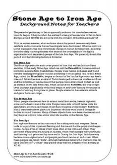 Stone Age to Iron Age Teacher Guide from KS2 History on TeachersNotebook.com - (1 page) - A teachers' guide to the period of British history from the Stone Age to the Iron Age.