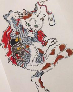 Japanese Tattoos For Men, Japanese Tattoo Symbols, Traditional Japanese Tattoos, Japanese Tattoo Art, Japanese Tattoo Designs, Japanese Sleeve Tattoos, Irezumi Tattoos, Japanese Mythology, Japanese Cat
