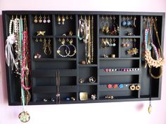 Black Jewelry Organizer display large by CraftersCalendar on Etsy