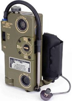Introduced in 1968 by the US Navy, it became a universal standard for all services by the end of the Vietnam War. Transmitting on 243 MHz (voice and beacon) or MHz (Civil Air Patrol frequency) the radio had a range Radios, Radio Amateur, Civil Air Patrol, Radio Antigua, Rifles, Tac Gear, Transistor Radio, Military Gear, Cool Tech