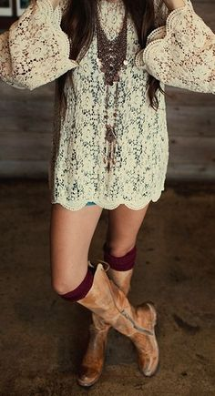 Bohemian hippie outfit, fall outfit ideas, lace dress and boots