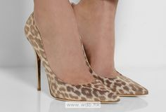 4.5 inch pale Leopard Leather shoes $44