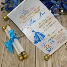 Cinderella Royal Princess Scroll Invitation Birthday Wedding Handmade Prince Invitation Christening Birth Announcement (Set of Cinderella Invitations, Mermaid Invitations, Handmade Invitations, Birthday Invitations, Wedding Invitations, Cinderella Sweet 16, Cinderella Theme, Cinderella Birthday, Disney Princess Birthday