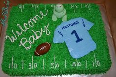 Football baby shower cake - Cake by Jamie Dixon - CakesDecor