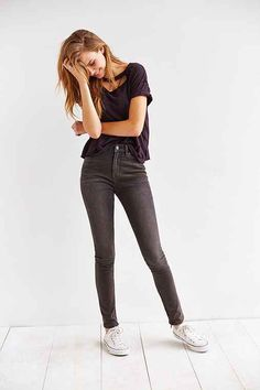 BDG Twig High-Rise Ankle-Zip Jean - Faded Black - Urban Outfitters