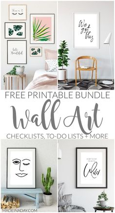 Free Printable Wall Art Bundle, wall art, gallery wall printables, gallery wall, printable sayings, printable quotes, palm, monstera palm, blush palm, sleep on it, be beautiful, stay wild, winky lady, to-do lists, checklists, blog stats + more #palm #tropical #printables, #freeprintables #blush #wallart #gallerywall #diyhomedecor #boho #bohemian face wall art