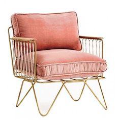 Fauteuil Croisette Honoré en velours rose poudré et assise dorée