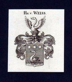 1780 - Herren v. Weiss Weiß Heraldik Kupferstich Wappen