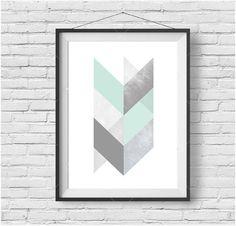 Mint and Grey Chevron Geometric Print, Scandinavian Printable Art, Light Turquoise Print, Teal Art, Downloadable Large Print