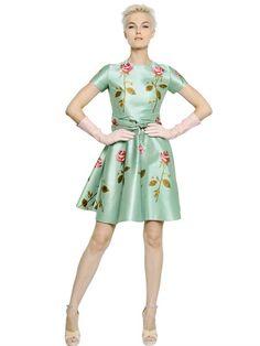 Rochas Rose Printed Duchesse Dress
