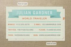 World Traveler Business Cards by Jess Taich at minted.com 50 @ $35
