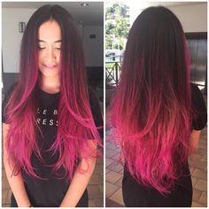 Red Wigs Lace Frontal Wigs Auburn Red Color Wigs Colored Hair Red Wig With Bangs Midnight Blue Lace Wig Blood Red Hair Color Brown And Pink Hair, Pink Ombre Hair, Hot Pink Hair, Pink Hair Streaks, Dip Dye Hair, Dye My Hair, Wig Hairstyles, Pretty Hairstyles, Pink Hair Highlights