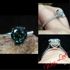Emerald & Diamonds Side Halo Round 3/4 Almost Eternity Engagement Ring, Custom Wedding, 14kt 18kt Gold, Platinum, WanLoveDesigns