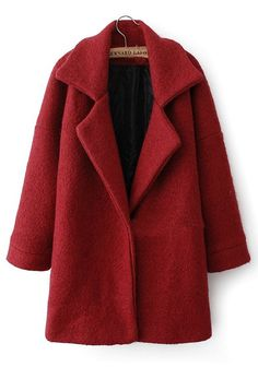 Red Plain Patchwork Long Sleeve Wool Padded Coat