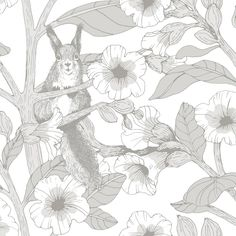 Toivo by Vallila - Grey - Wallpaper : Wallpaper Direct Botanical Wallpaper, Grey Wallpaper, Wallpaper Panels, Kids Wallpaper, Wallpaper Roll, Grey Pattern Wallpaper, Beautiful Wallpaper, Animal Wallpaper, Buy Wallpaper Online