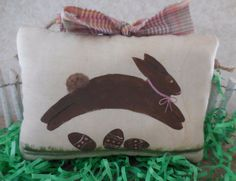 Primitive Folk Art EASTER Chocolate Jumping Bunny Pillow Tuck Easter Eggs  #NaivePrimitive #auntiemeowsatticprims