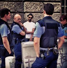JR activist and street artist was in Berlin...( Oh. Oh, cops are not sure if they like Street Art ! )