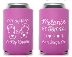 beach wedding favor can coolers – Etsy