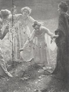 The Maypole (1899); Clarence H. White - photographer.  Vintage pagan ritual dance photo.