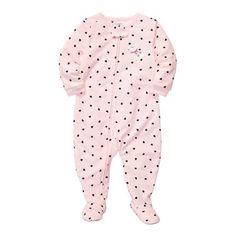Carter's® Heart Microfleece Footed Pajamas - Girls 12m-24m - jcpenney
