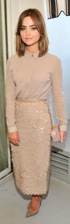 Who made Jenna Coleman's tan sequin skirt, button down shirt, and nude pumps that she wore in Los Angeles