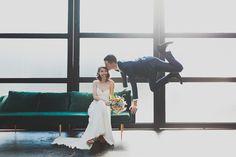 the wedding portrait to end all wedding portraits, photo by Chaz Cruz http://ruffledblog.com/modern-brooklyn-wedding #weddingportrait #grooms