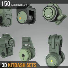 3D KITBASH SETS,  A1 Series, Amin Akhshi on ArtStation at https://www.artstation.com/artwork/YwzZV