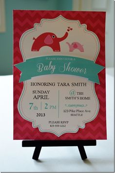 Beautiful baby shower invites using digital papers and some Silhouette elements. Love it!