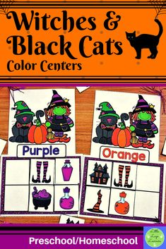 These Witches Preschool Color Activities, Morning Activities, Halloween Activities, Preschool Halloween, Halloween Witches, Cat Activity, Witch Cat, Cat Colors, Dramatic Play