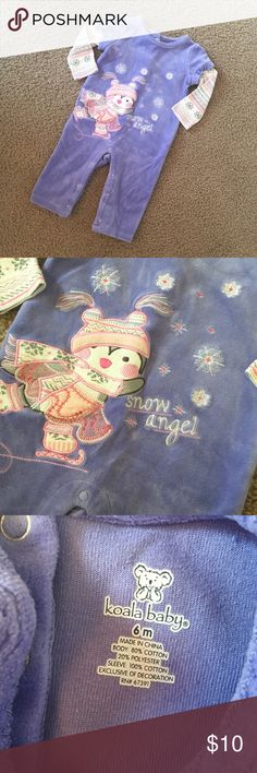"EUC Koala Baby ""Snow Angel"" Jumpsuit EUC. Soft velvet feel with snap button leg closures and three button closures on the back. Adorable!!! Bundle & Save! Koala Kids One Pieces"