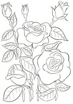 embroidery patterns with schematic scheme kitchen napkin embroidery patterns hand embroidery pattern Flower Coloring Pages, Colouring Pages, Adult Coloring Pages, Coloring Books, Painting Patterns, Fabric Painting, Gravure Illustration, Flower Sketches, Hand Embroidery Patterns