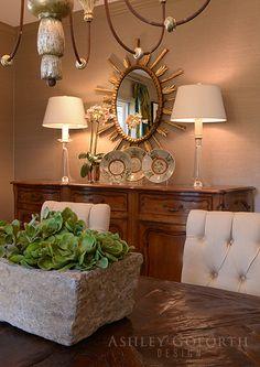 Ashley Goforth Design   Briar Ridge Sunburst Mirror, Mirror Mirror, Mirrors, Orange Dining Room, Fairest Of Them All, Entryway Tables, Dining Rooms, Furniture, Vignettes