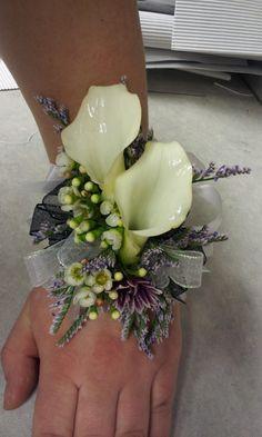 double white calla lily corsage
