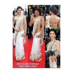 deepika  white  chiffon saree