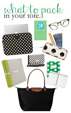 College Prep: Packing a Tote    laptop sleeve. color coded binders. planner. notebook. cosmetic bag for pencil case. wallet wristlet to keep phone in while in class.
